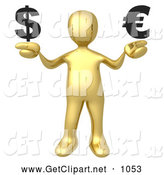 3d Clip Art of a Gold Man Comparing the Euro and Dollar by 3poD