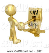 July 2nd, 2013: 3d Clip Art of a Gold Person Holding a Mechanical Switch and Turning the Lever off by 3poD