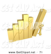3d Clip Art of a Gold Person Pushing up the Last Column on an Ascending Bar Graph Chart, Symbolizing Effort and Success by 3poD