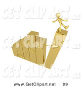 3d Clip Art of a Gold Person Slipping and About to Fall While Standing at the Top of a Gold Bar Graph Chart That Is Collapsing at It by 3poD