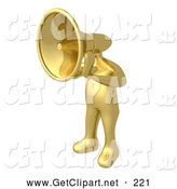 3d Clip Art of a Gold Person with a Megaphone Head by 3poD