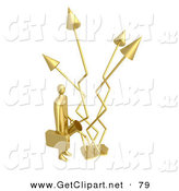 3d Clip Art of a Gold Successful Businessman Holding a Watering Can and Watering Graph Arrows That Keep Increasing Profits in the Business by 3poD