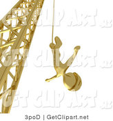 3d Clip Art of a Golden Bungee Jumper Man in a Helmet, Falling While Bungee Jumping from a Crane by 3poD