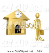 3d Clip Art of a Golden Businesman in a Suit, Holding a Briefcase and Sticking out from an Arm of a Cuckoo Clock upon the Hour of 9am, Symbolising the Start of a New Work Day, or Punctuality by 3poD