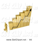 3d Clip Art of a Golden Businessman Carrying a Briefcase and Staring up at a Big Golden Bar Graph Chart by 3poD