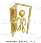 3d Clip Art of a Golden Figure Standing in an Open Doorway, Uncertain of Whether or Not to Enter, Symbolizing Opportunity by 3poD