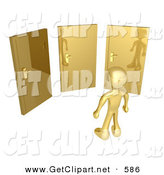 3d Clip Art of a Golden Figure Standing in Front of Three Different Golden Doors, Symbolizing Someone with Only Amazing Opprotunities Ahead by 3poD