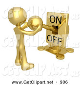 3d Clip Art of a Golden Person Holding a Switch and Turning the Lever on by 3poD