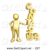 "3d Clip Art of a Golden Person Leaning Against a Stacked ""Contact Us"" Icon for a Website Contact Form by 3poD"