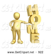3d Clip Art of a Golden Person Leaning Against the Vertical Word HOME by 3poD