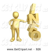 3d Clip Art of a Golden Person Leaning Against the Word INFO by 3poD