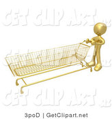 3d Clip Art of a Golden Person Pushing a Super Long Shopping Cart in a Store While Planning to Purchase a Lot by 3poD