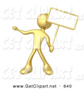 3d Clip Art of a Golden Person Standing and Holding up a Blank Sign for an Advertisement by 3poD