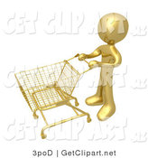 3d Clip Art of a Golden Person Standing with an Empty Shopping Cart in a Store by 3poD