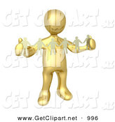 3d Clip Art of a Golden Person, Such As a Boss or Manager, Holding a Strand of Paper People, Symbolizing Control or Teamwork by 3poD