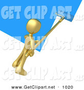 3d Clip Art of a Golden Person Using a Roller to Apply Blue Paint to a White Wall by 3poD