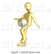 3d Clip Art of a Golden Soccer Player Person Kicking a Dribbling a Soccer Ball on His Upper Leg by 3poD