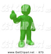 3d Clip Art of a Grassy Green Person Giving the Thumbs up After Making the Decision to Go Green and Organic to Be Earth Friendly by 3poD