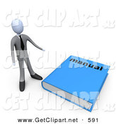3d Clip Art of a Gray Businessman Standing Beside a Giant Blue Manual by 3poD