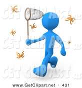 3d Clip Art of a Greedy Blue Person Chasing Euros That Resemble Butterflies with a Net by 3poD
