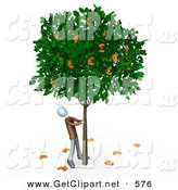3d Clip Art of a Greedy Businessman Shaking Money off of a Leafy Tree That Grows Euros by 3poD