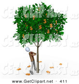 3d Clip Art of a Greedy Businessperson Shaking Money off of a Tree That Grows Dollars by 3poD