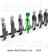 3d Clip Art of a Green Alien Man Carrying a Briefcase and Standing in a Line of Human Businessmen, Metaphor for Feeling Alienated or Different by 3poD