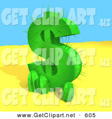 3d Clip Art of a Green Cactus in the Shape of a Dollar Symbol, Growing in the Desert by 3poD