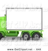 3d Clip Art of a Green Diesel Big Rig Semi Truck with a Blank White Billboard, Ready for an Advertisement by 3poD