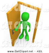 3d Clip Art of a Green Figure Man Standing in an Open Doorway, Uncertain of Whether or Not to Enter, Symbolizing Opportunity by 3poD