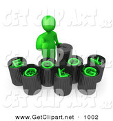 3d Clip Art of a Green Man Giving the Thumbs up While Standing by Trash Cans with Green Text Reading Ecology by 3poD