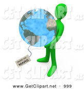 3d Clip Art of a Green Man Holding the Planet Earth with a Tag Reading Made on Mars by 3poD