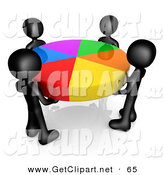 3d Clip Art of a Group of 4 Black People Holding a Colorful Pie Chart by 3poD