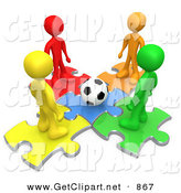 3d Clip Art of a Group of 4 Diverse Diffferent Colored People Standing on Puzzle Pieces and Looking down at a Soccer Ball by 3poD