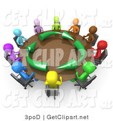 3d Clip Art of a Group of a Diverse and Colorful Group of People Seated and Holding a Meeting About Running an Environmentally Friendly Company Around a Circular Conference Table by 3poD