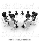 3d Clip Art of a Group of Black Figured People Seated and Holding a Meeting Around a White Reflective Circular Conference Table by 3poD