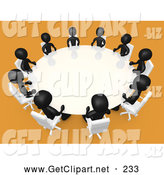 3d Clip Art of a Group of Black Office People Seated and Holding a Meeting at a Round White Conference Table in a Room with Yellow or Orange Carpet by 3poD