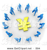 3d Clip Art of a Group of Blue Businessmen Carrying Briefcases Standing in a Ring Around a Yen Sign by 3poD