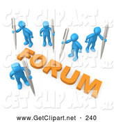 3d Clip Art of a Group of Blue Internet People Holding Their Own Pens, Writing in a Group Forum by 3poD