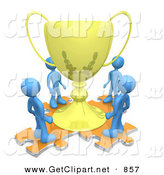 3d Clip Art of a Group of Blue Men Standing on Orange Puzzle Pieces and Looking up at a Giant Golden Tropy Cup After Winning a Championship by 3poD