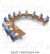 3d Clip Art of a Group of Blue People Seated and Holding a Business Meeting at a Large U Shaped Conference Table by 3poD