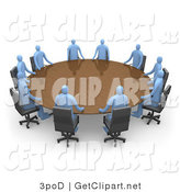 3d Clip Art of a Group of Blue People Seated and Holding a Meeting at a Large Brown Conference Table by 3poD