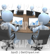 3d Clip Art of a Group of Blue Students or Office Employees in a Training Class, Using Laptop Computers to View Charts and Graphs While Seated Around a Conference Table by 3poD