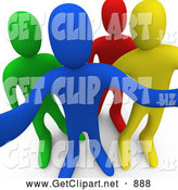 3d Clip Art of a Group of Blue, Yellow, Red and Green People Looking Outwards Curiously by 3poD