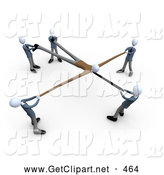 3d Clip Art of a Group of Businessmen Fighting over a Customer and Stretching Him out While Competing for Him by 3poD
