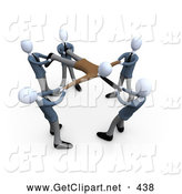 3d Clip Art of a Group of Businessmen Pulling a Client, All Fighting and Competing over Their Customers by 3poD