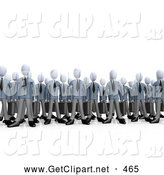 3d Clip Art of a Group of Businessmen Standing Together, Symbolizing Teamwork or Cloning by 3poD