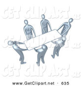 3d Clip Art of a Group of Chrome People Working Together to Lift a Blank White Sign Which Is Ready for an Advertisement by 3poD