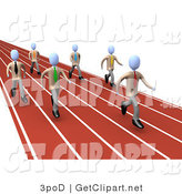3d Clip Art of a Group of Competitive Businessmen Running down Lanes of a Track While Racing for a Job Opportunity by 3poD