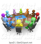 3d Clip Art of a Group of Different Colored and Diverse People Holding a Meeting and Trying to Solve a Jigsaw Around a Large Rectangular Conference Table in an Office by 3poD